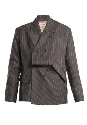 Distressed double-breasted pinstripe wool blazer