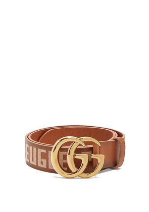 GG embroidered leather belt