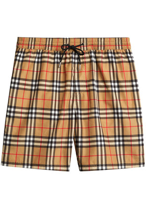 Burberry Vintage Check Drawcord Swim Shorts - Yellow & Orange