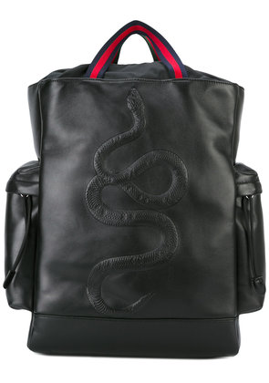 Gucci kingsnake embroidered backpack - Black
