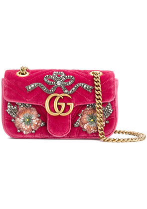 Gucci GG Marmont embroidered bag - Pink & Purple