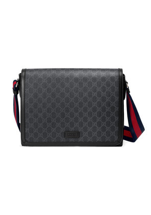Gucci GG Supreme flap messenger - Black