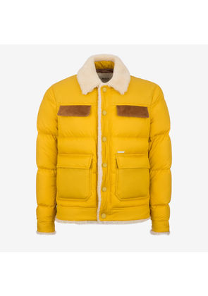 Bally Patch Pocket Puffer Jacket Yellow, Men's techno fabric puffer jacket in canary yellow