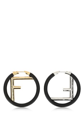 LOGO NAPPA LEATHER HOOP EARRINGS