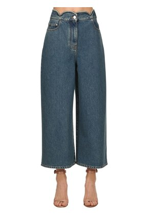 SCALLOPED WAIST DENIM CROPPED JEANS
