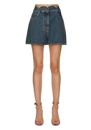 SCALLOPED WAIST DENIM SHORTS