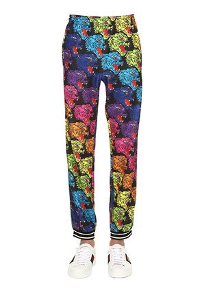 ANGRY TIGER PRINTED JERSEY SWEATPANTS