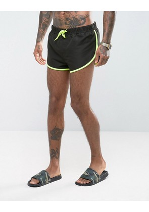 ASOS Swim Shorts With Extreme Side Split In Black With Side Mesh Detail In Super Short Length - Black/yellow