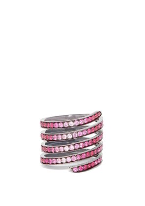 Ombré sapphire, ruby & rhodium- silver coil ring