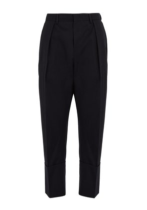 Tapered-leg cropped wool trousers