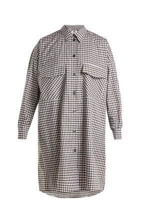 Oversized checked cotton-poplin shirtdress