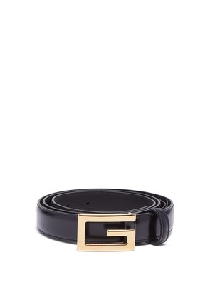 G-plaque smooth leather belt