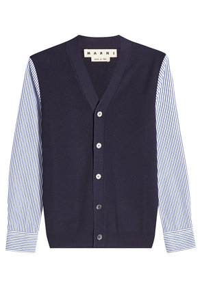 Marni Wool Cardigan with Striped Cotton Sleeves