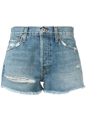 Re/Done Solid Striped x Re/Done rip wash shorts - Blue