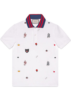 Gucci Cotton polo with embroideries - White