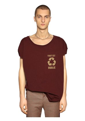 RECYCLE PRINTED COTTON JERSEY T-SHIRT