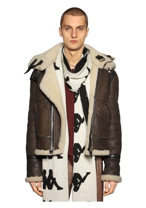 REVERSIBLE HOODED SHEARLING JACKET