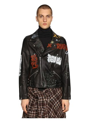 PAINTED LEATHER BIKER JACKET