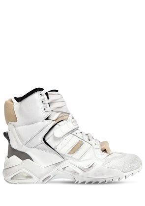 50MM DESTROYED LEATHER HIGH TOP SNEAKERS