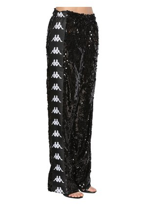 KAPPA SEQUINED WIDE LEG TRACK PANTS