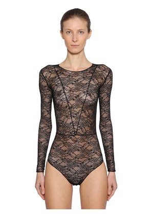 LONG SLEEVE STRETCH SHEER LACE BODYSUIT