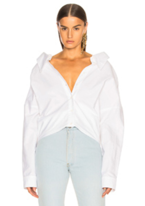 Tibi Watts Oxford Shirting Easy Shirt w/ Zipper Detail in White
