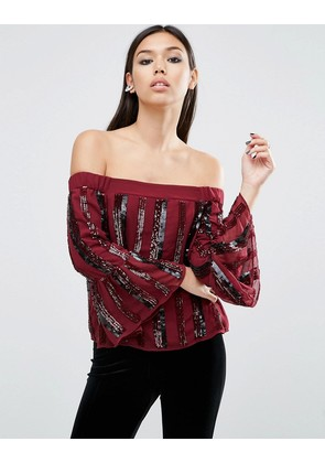 ASOS Off Shoulder Top in Sequin Stripe - Oxblood