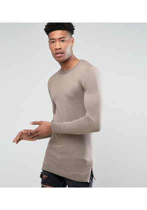 ASOS TALL Muscle Fit Longline Jumper With Side Zips In Oatmeal - Oatmeal