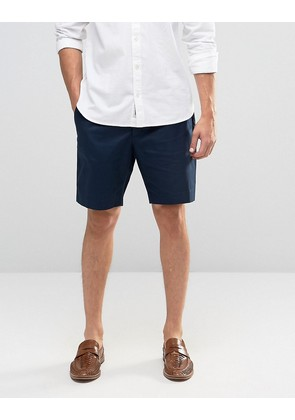 ASOS Tailored Shorts In Navy Washed Cotton - Navy