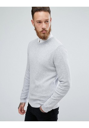 ASOS Muscle Fit Lightweight Textured Jumper In Pale Grey - Pale grey