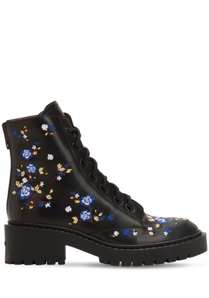 50MM FLORAL EMBROIDERED LEATHER BOOTS