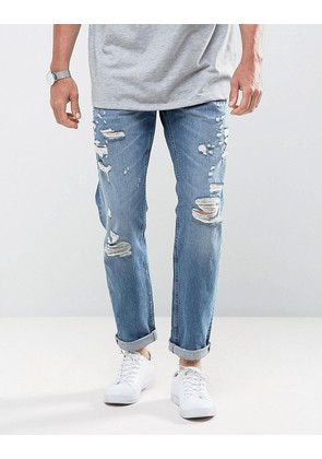 Jack & Jones Intelligence Tapered Fit Jeans with Distress Detail - Blue 032