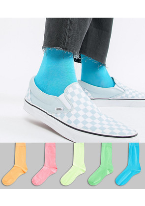 ASOS Socks In Bright Neons 5 Pack - Multi