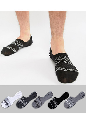 ASOS Invisible Liner Socks In Monochrome Aztec 5 Pack - Monochrome