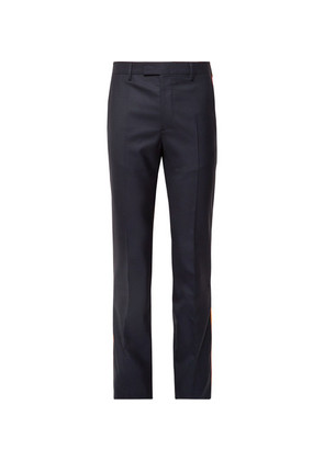 Navy Slim-fit Grosgrain-trimmed Puppytooth Wool Suit Trousers