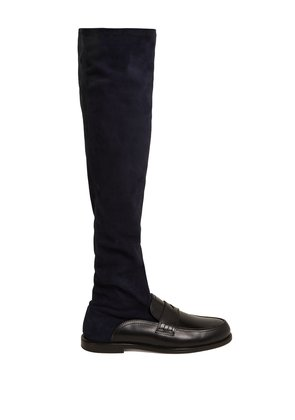 Penny loafer leather and suede knee-high boots