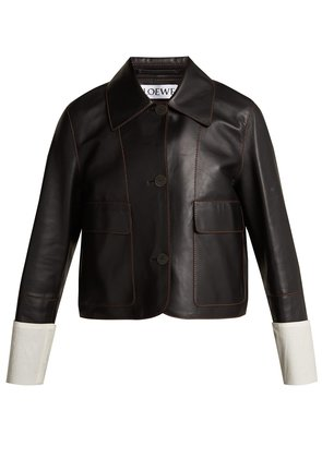 Contrast-cuff nappa leather jacket