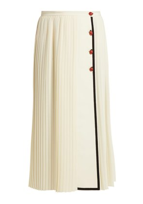 Gardenia pleated wool-crepe skirt