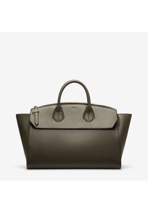 Bally Sommet Zip Large Grey, Women's large bovine leather top handle bag in fango