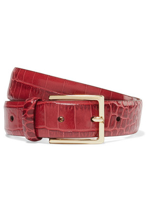 Anderson's - Croc-effect Leather Belt - Red