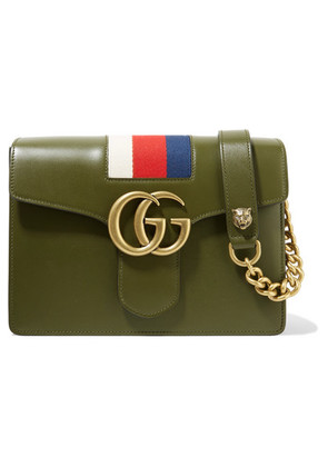 Gucci - Gg Marmont Striped Canvas-trimmed Leather Shoulder Bag - Army green