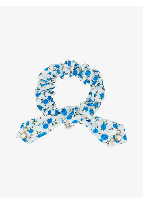 Dannijo white and blue Nina crystal floral print cotton bracelet