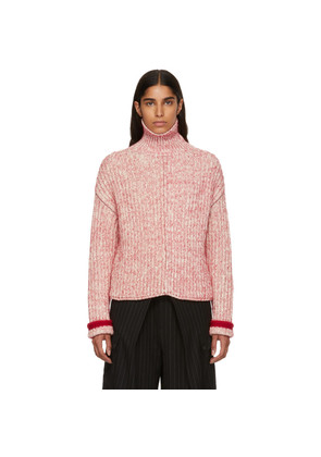 Chloé Red & Off-White Thick Turtleneck