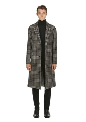 CHECK WOOL JACQUARD COAT