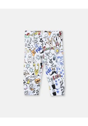 Stella McCartney Kids White Doodle Print Trousers, Unisex, Size 1-3