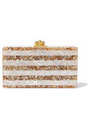 Edie Parker Woman Jean Striped Box Marbled Acrylic Clutch Gold Size -