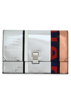 Proenza Schouler Woman Paneled Mirrored Leather Clutch Silver Size -