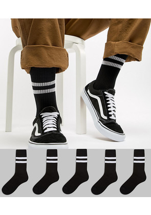 ASOS Sport Style Socks 5 Pack In Black With Stripes - Black