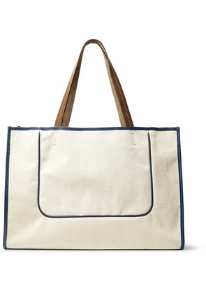 Connolly - Leather-trimmed Canvas Tote Bag - Off-white