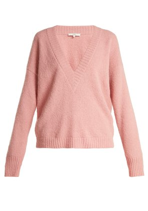 Oversized V-neck alpaca-blend sweater
